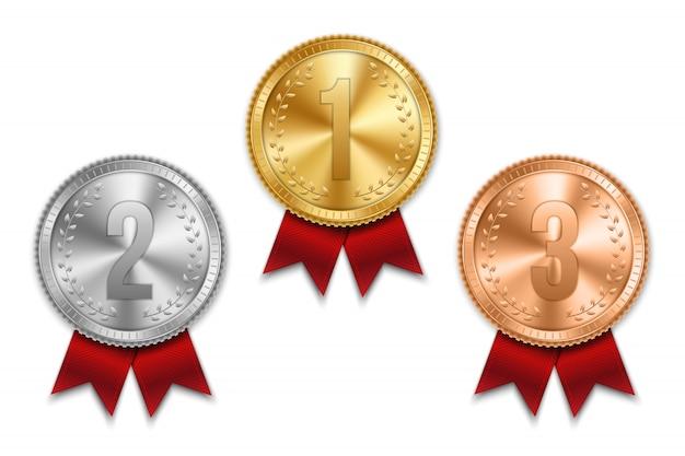 Medalha de ouro prata e bronze com fita. Vetor Premium