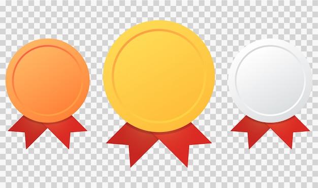 Medalha de ouro, prata e bronze de campeão Vetor Premium