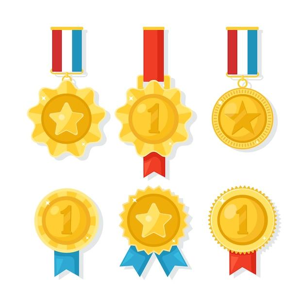 Medalha de ouro, prata e bronze para o primeiro lugar. troféu, prêmio para o vencedor em fundo branco. conjunto de distintivo dourado com fita. realização, vitória. ilustração Vetor Premium