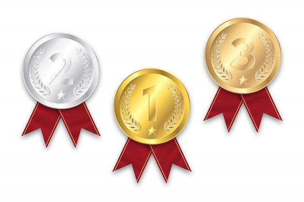 Medalha de ouro, prata e bronze Vetor Premium