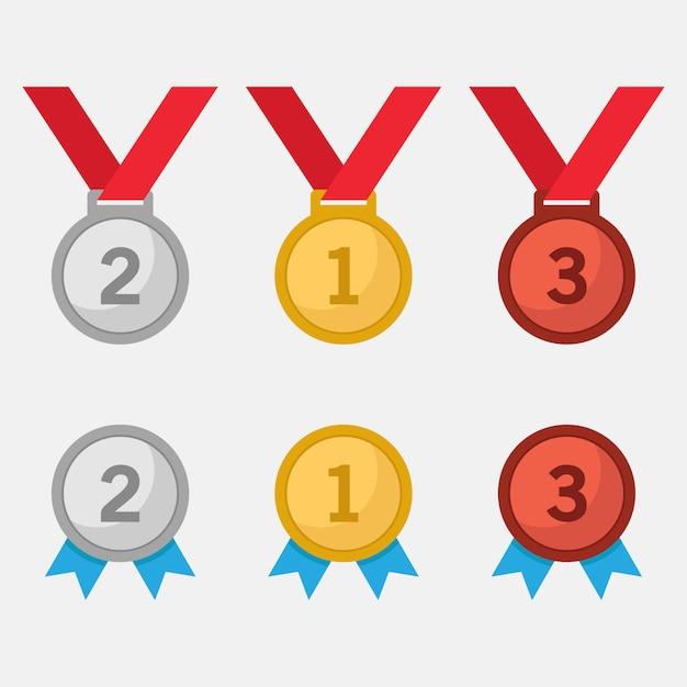Medalha de prata e bronze de ouro Vetor Premium