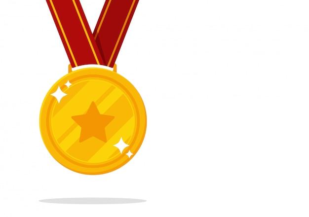 Medalha do vencedor. vitória da medalha de ouro em eventos esportivos. Vetor Premium