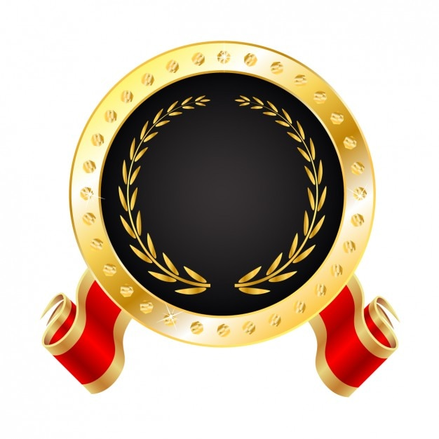 Medalha dourada realista Vetor grátis