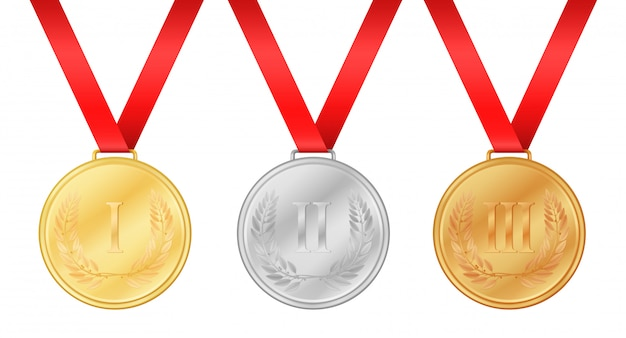 Medalhas de jogos olímpicos Vetor Premium