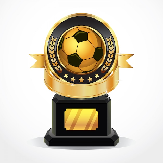Medalhas do prêmio de ouro de futebol. Vetor Premium