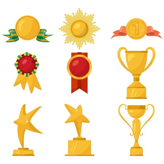 Medalhas e coleção dos copos do ouro no branco. Vetor Premium