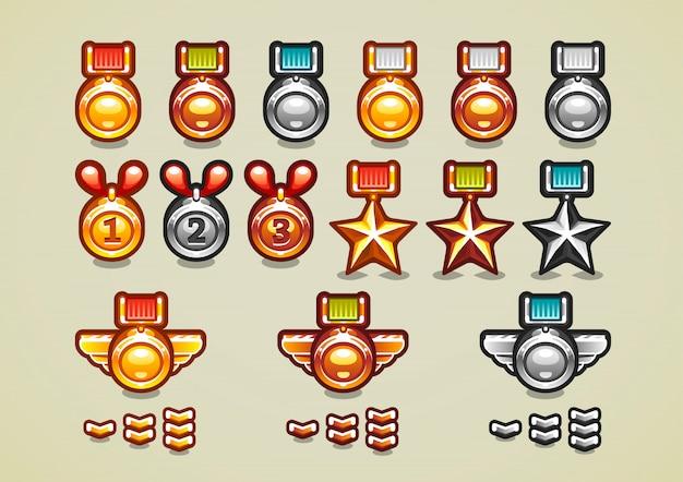 Medalhas e conquistas Vetor Premium