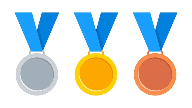 Medalhas ouro, prata e bronze com fita azul. Vetor Premium