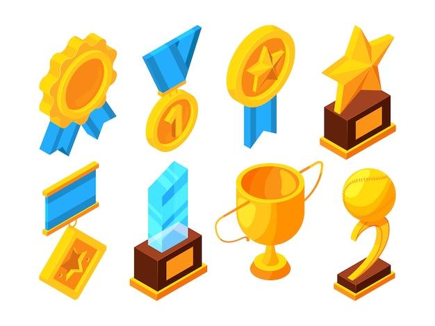 Medalhonor e troféus esportivos diferentes Vetor Premium