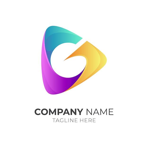 Media play + letra g logotipo conceito Vetor Premium