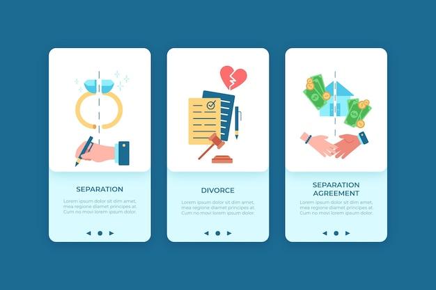 Mediação de divórcio - telas de integração Vetor grátis