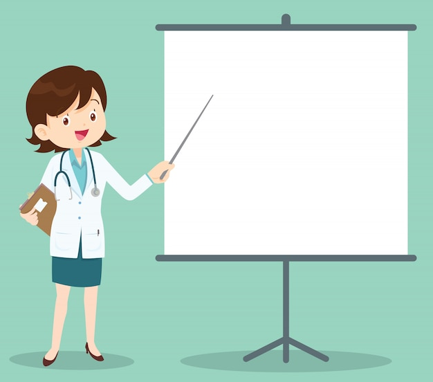 Médica inteligente, apresentando-se com projetor Vetor Premium