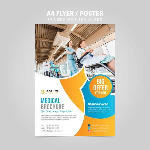 Medical business mulripurpose folheto a4 folheto promocional Vetor Premium