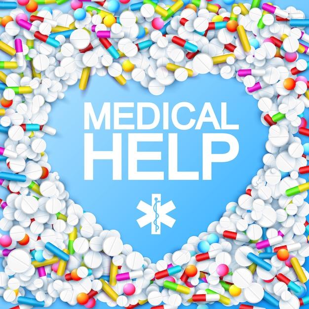Medicamento com cápsulas coloridas em forma de coração remédios pílulas e drogas Vetor grátis