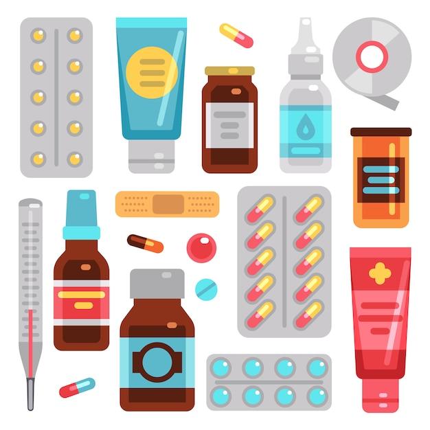Medicamentos de farmácia, pílulas, frascos de medicamentos e equipamentos médicos Vetor Premium