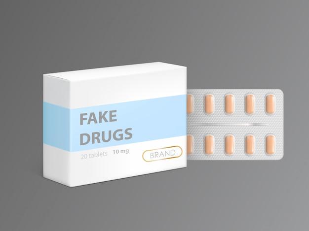 Medicamentos falsificados em caixa de papelão Vetor grátis
