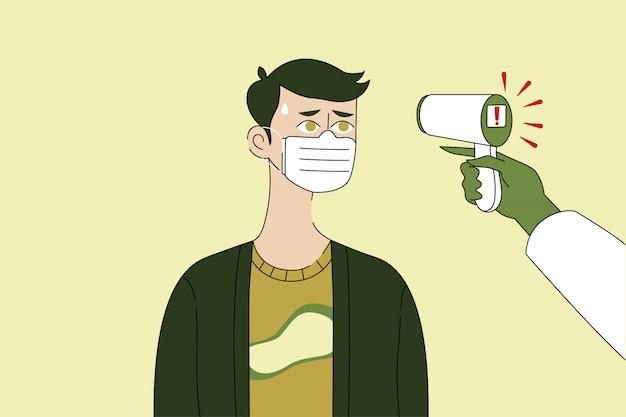 Medição de temperatura, medicina, coronavírus, conceito de cuidados de saúde. Vetor Premium