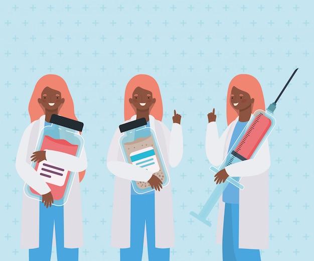 Médicas com frascos de injeção e medicamento Vetor Premium