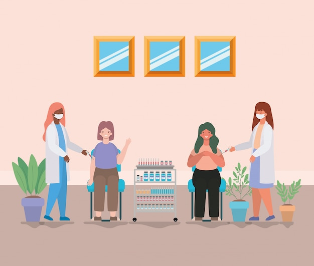 Médicas vacinando mulheres Vetor Premium