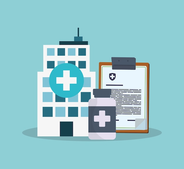 Medicina de garrafa de prancheta bulding hospital Vetor Premium
