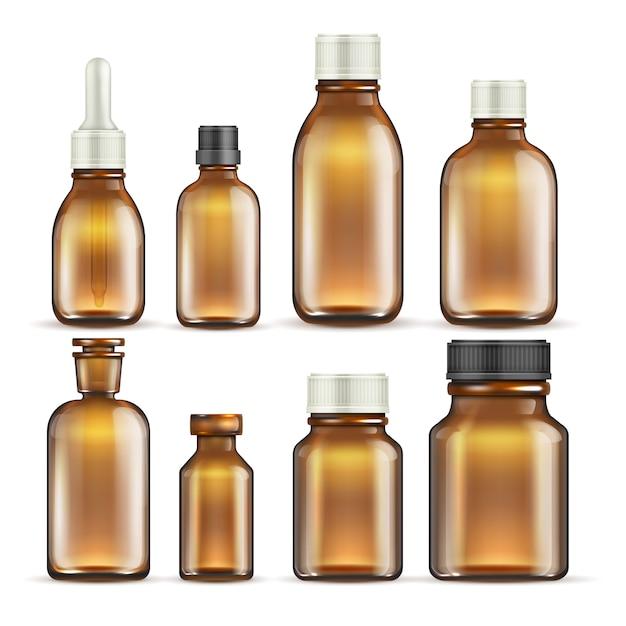 Medicina de vidro marrom realista e frascos de cosméticos, embalagens médicas, isolado de conjunto. Vetor Premium