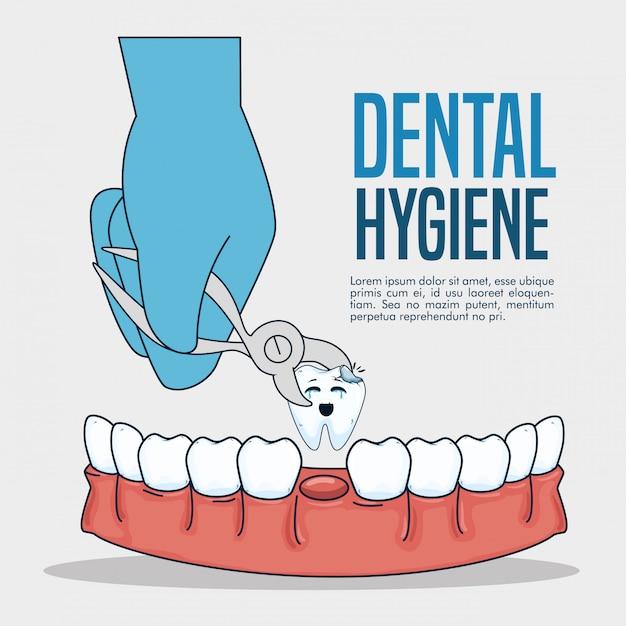 Medicina dentária e dente com extrator dentário Vetor grátis