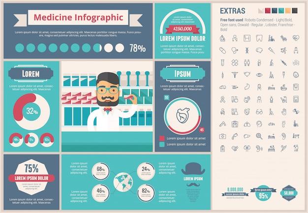 Medicina design plano infográfico template Vetor Premium