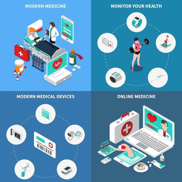 Medicina digital isométrica Vetor grátis