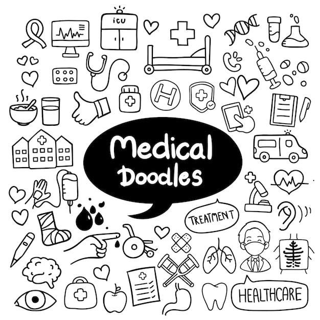 Medicina e saúde mão desenhada doodles vector Vetor Premium