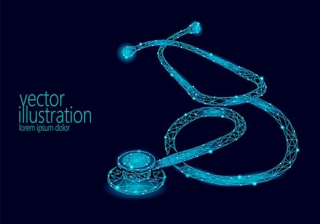 Medicina estetoscópio baixo poli cuidados de saúde dia mundial. poligonal Vetor Premium