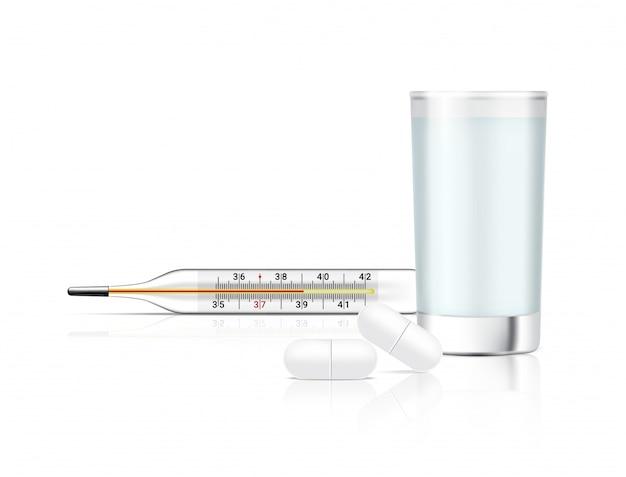Medicina realista comprimidos sobre fundo branco com copo de água e termômetro Vetor Premium