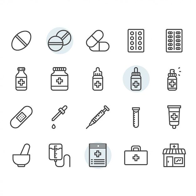 Medicina relacionados com ícone e símbolo definido no contorno Vetor Premium