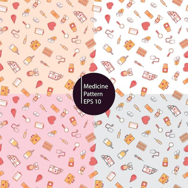 Medicina saudável ícones sem costura de fundo Vetor Premium
