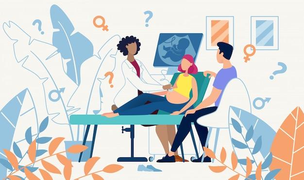 Medicina ultrassonografia scan sexo determinação Vetor Premium