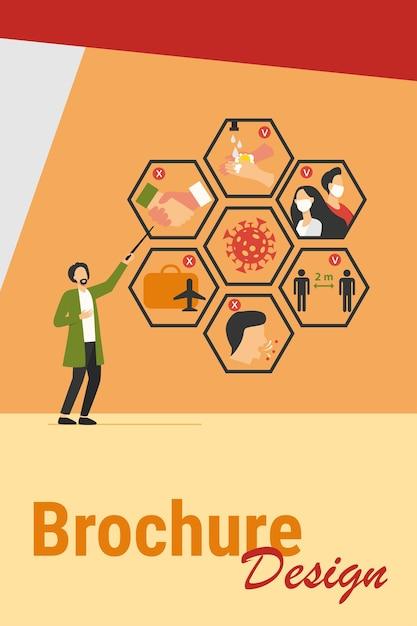 Médico apresentando dicas para proteção contra coronavírus e prevenção de disseminação de epidemia. ilustração vetorial para covid 19, sintomas, proteção, segurança, conceito de infecção Vetor grátis