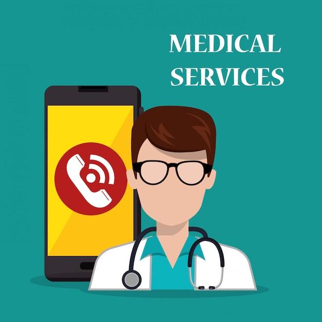 Médico com aplicativo de serviços médicos smartphone Vetor grátis