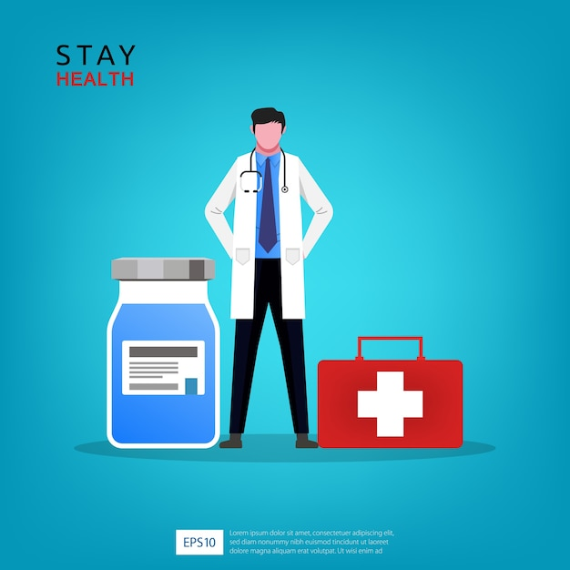 Médico com garrafa de medicamento e ilustração de caixa de primeiros socorros Vetor Premium