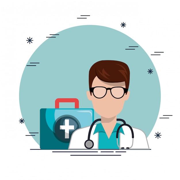 Médico com ícones de serviço médico Vetor grátis