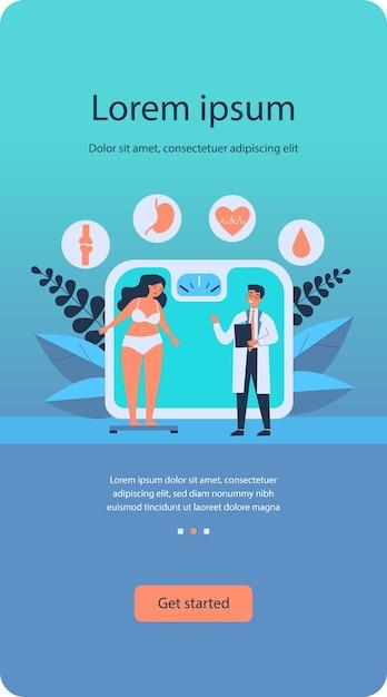 Médico consultando garota com excesso de peso Vetor Premium