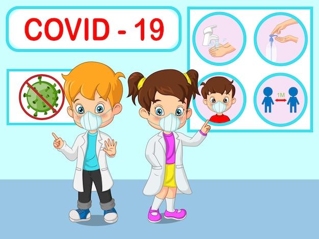 Médico crianças pequenas explicam infográficos, usam máscara facial, lave as mãos, usa máscara facial, desinfetante para as mãos e mantém o distanciamento social Vetor Premium