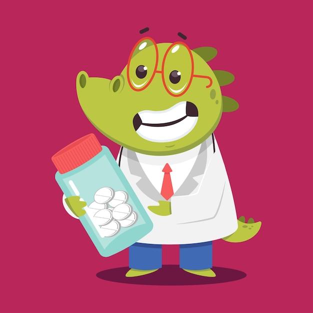 Médico crocodilo infantil com pílulas cartoon personagem médico engraçado isolado no fundo. Vetor Premium