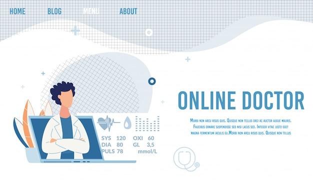 Médico da linha da oferta da página de destino para consulta Vetor Premium
