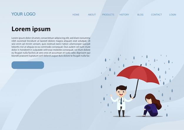 Médico de assistência médica levantar um guarda-chuva. Vetor Premium