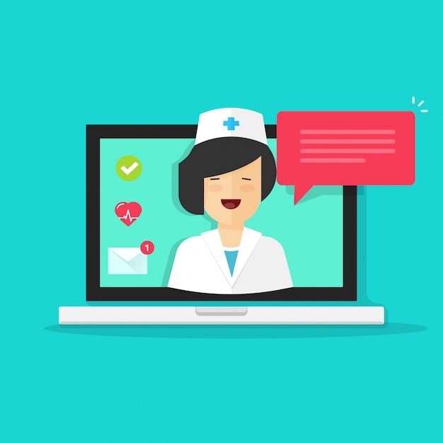 Médico de internet consultoria on-line ou telemedicina em ilustração vetorial de computador portátil Vetor Premium