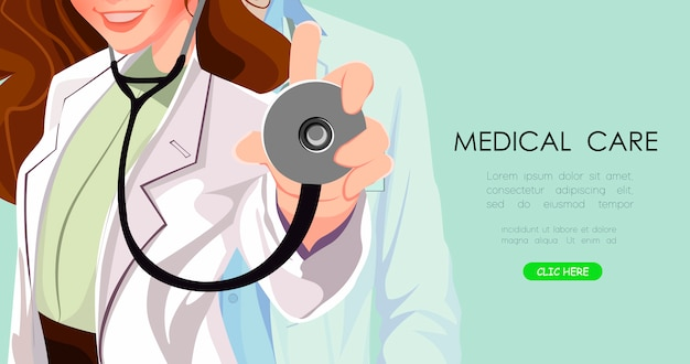 Médico de perto. formação médica Vetor Premium