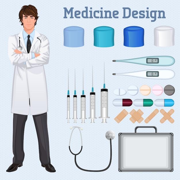 Médico de saúde jovem e bonito em brasão de laboratório branco cruzado com o acessório médico conjunto conceito poster Vetor grátis