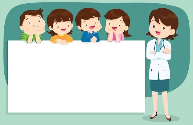 Médico e crianças fofos com banner Vetor Premium