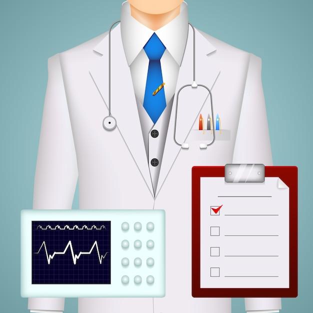 Médico e gráficos médicos e fundo de varreduras com traçado de eletrocardiograma Vetor Premium