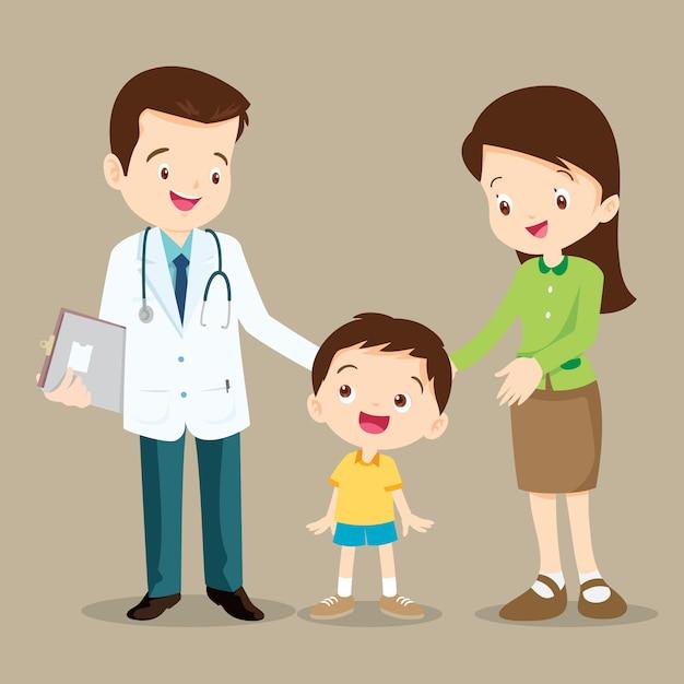 Médico e menino bonito Vetor Premium