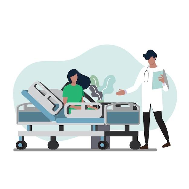 Médico e paciente no quarto do hospital Vetor Premium